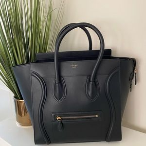 Celine Luggage Tote Black Calfskin Leather Satchel